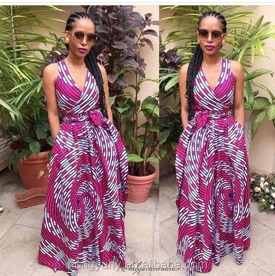 Ky1001 2017 afican élégant vêtements africain habillé pour femmes sans  manches de mode africain maxi robe