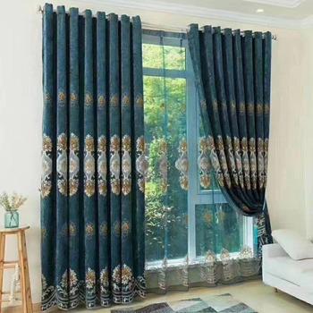 Deep Blue Beautiful Velvet Blackout Garage Door Curtains