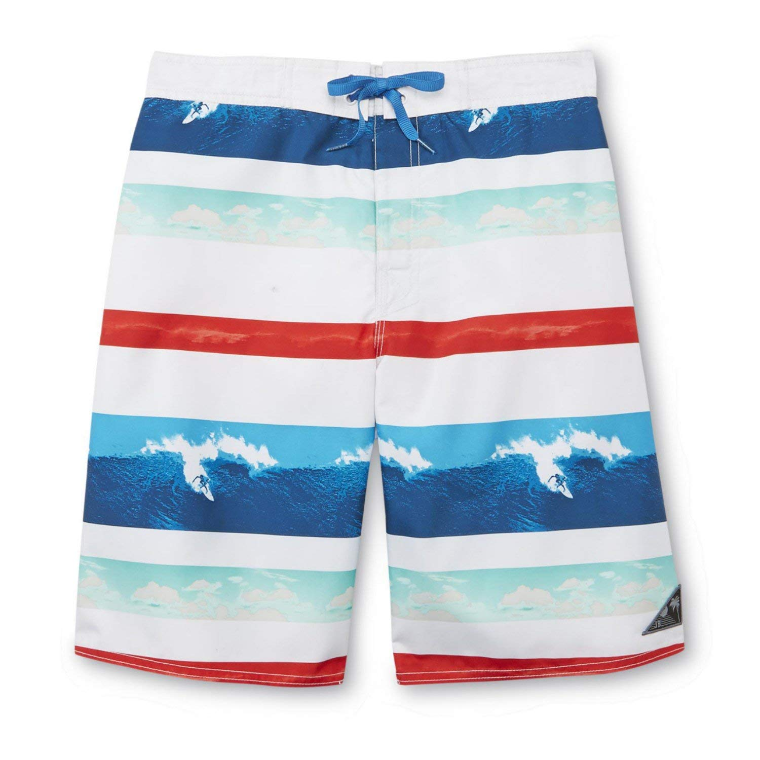 852617a1fd Get Quotations · Joe Boxer Mens Red/White/Blue Striped Surfing Board Shorts  Swim Trunks