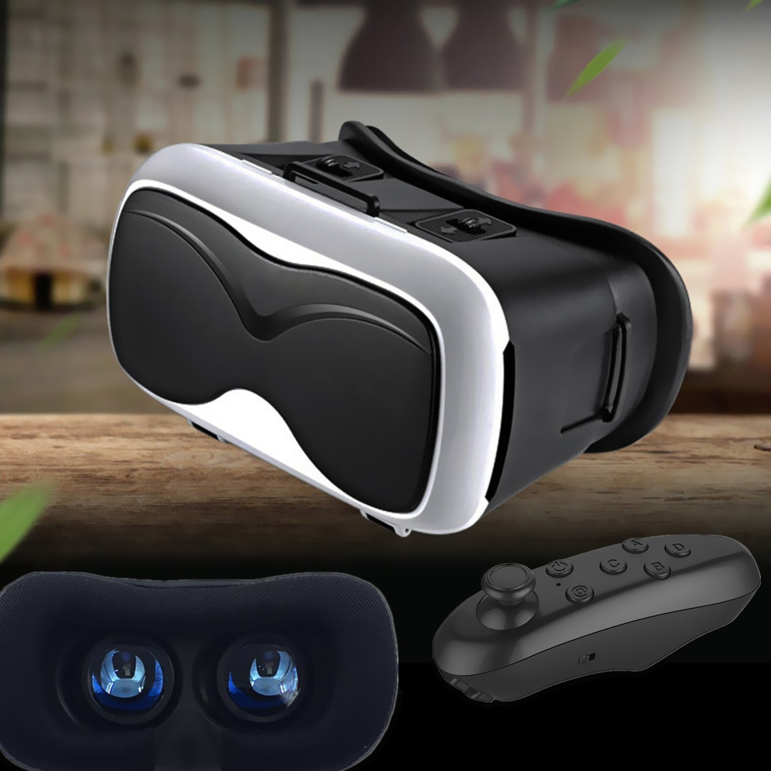 3D VR Glasses Headset, Tsanglight Virtual Reality Glasses with Remote Controller for IOS iPhone 7/6/6S Plus, Android Samsung Galaxy S7 Edge/S7/S6/S5/A5/A3 2016 & Other 4.7-6.5inches Cellphones- White