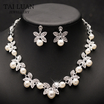 Trendy Wedding Bridal Accessories Imitation Pearl Necklace Earrings Set Indian Jewellery Set