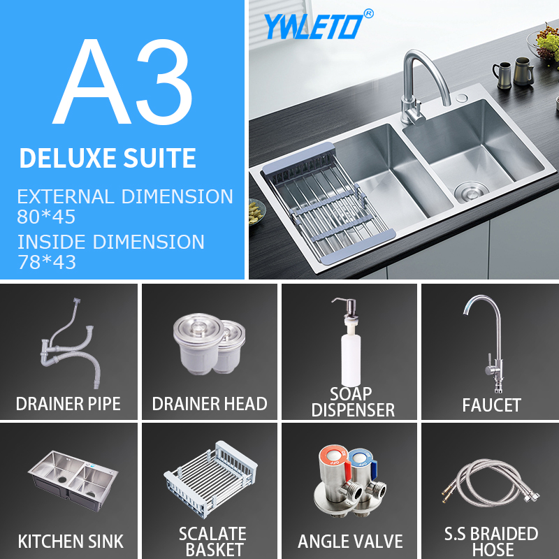 8045 kitchen accessories set stainless steel kitchen sink,faucet,sink drain