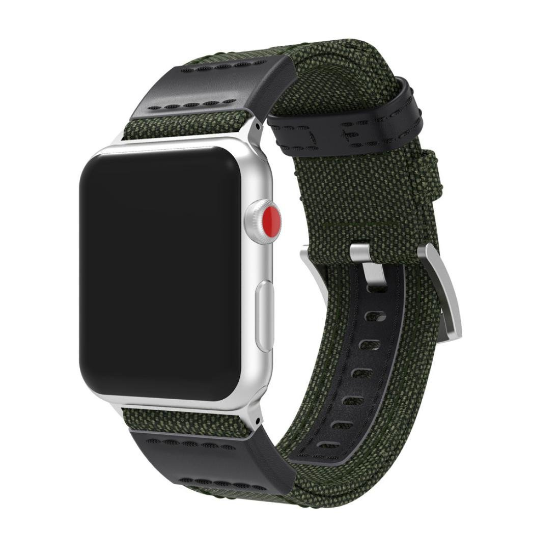Wenjuan Luxury Canvas Leather Watch Sport Band Wrist Strap For Apple Watch Series 3 38MM (Army Green)