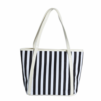 b0e3a67a4de Wholesale designer inspired white strip print latest design beach handbags  2017