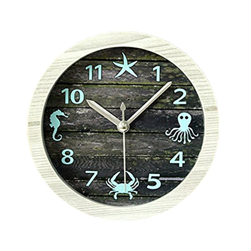 "4.7"" Nice Ocean Retro Distressed Wood Desktop Clock Vintage Creative Silent Non-ticking Quartz 3D Desk Clock Home Decor Bedroom Living Room Bell Clock Art Gift"