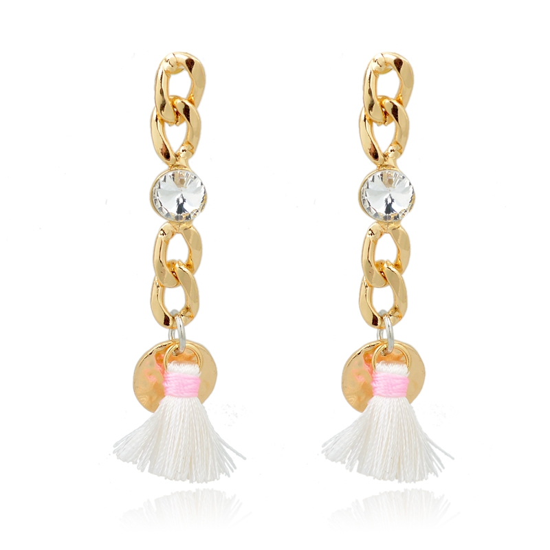 Fancy gold chain with big diamond and tassel earring