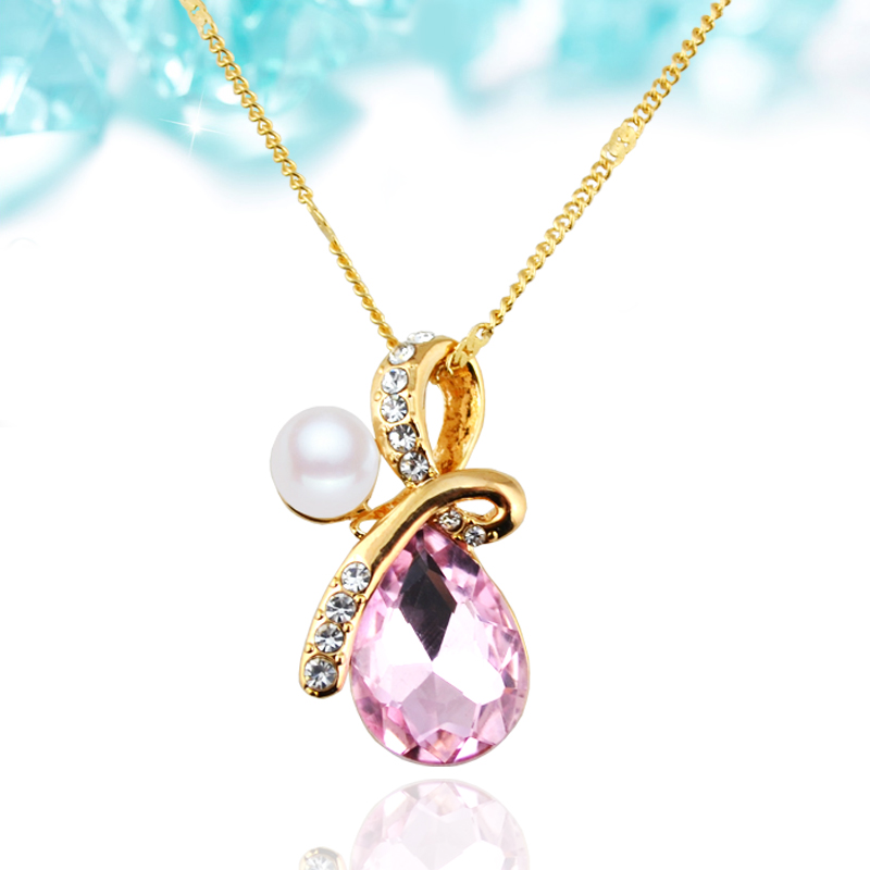 N006 Crystal Water Drop Necklace For Women 18K Gold And Silver Plated Jewellery Necklace Fashion <strong>Accessories</strong> 2017 Latest Design