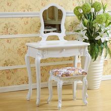 European Style Bedroom Furniture White Table Wooden Dressing Mirror with Storage