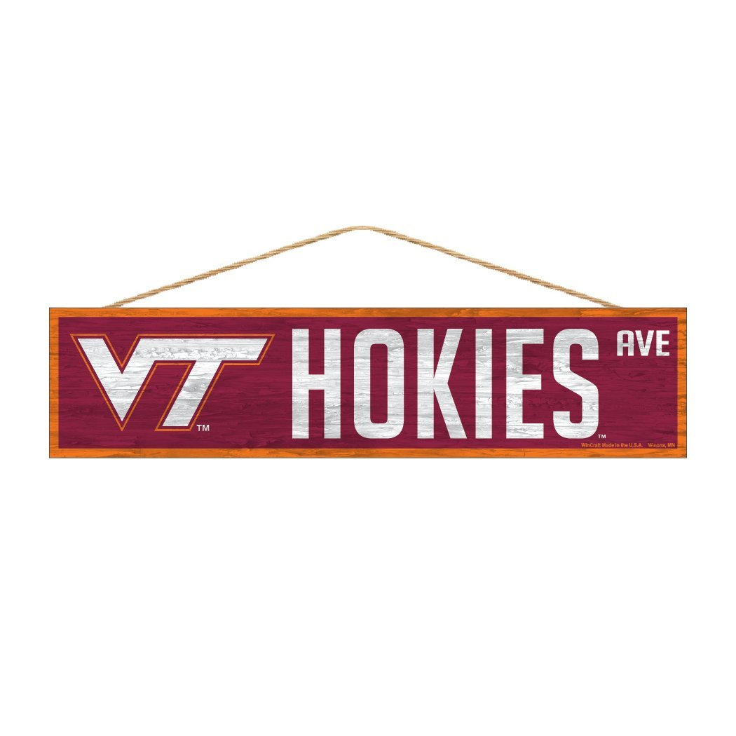 Virginia Tech Hokies Official NCAA Wood Street Wall Sign 4x17 by Wincraft 938725