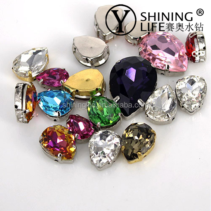 13*18mm Fancy Swe on Clear Crystal Rhinestone with Mental Claw Setting for Garment