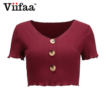 5a05d8248f45 Viifaa Short T Shirt Women Burgundy V Neck T-Shirt 2018 Summer Decorative  Button Sexy