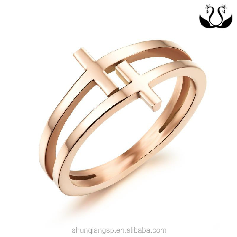 stainless steel rings,rose gold plated cross rings for woman