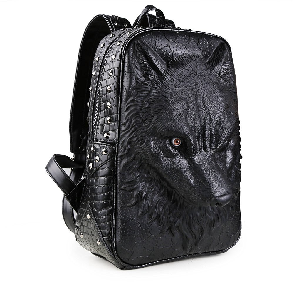 e3feece69e Buy Koolertron 3D Animal School Backpack Wolf Studded College ...