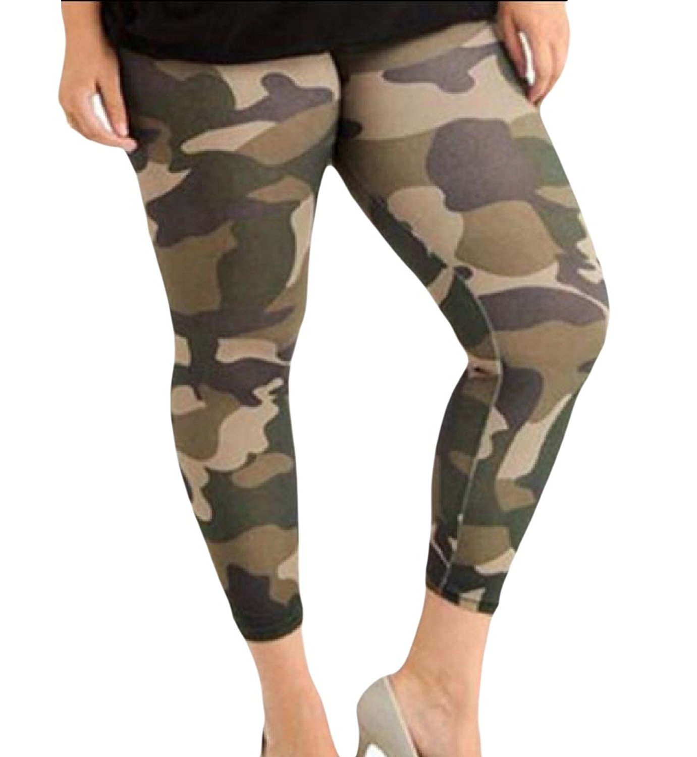 FreelyWomen Freely Womens Plus-size Jeggings Camouflage Color Yoga Pants