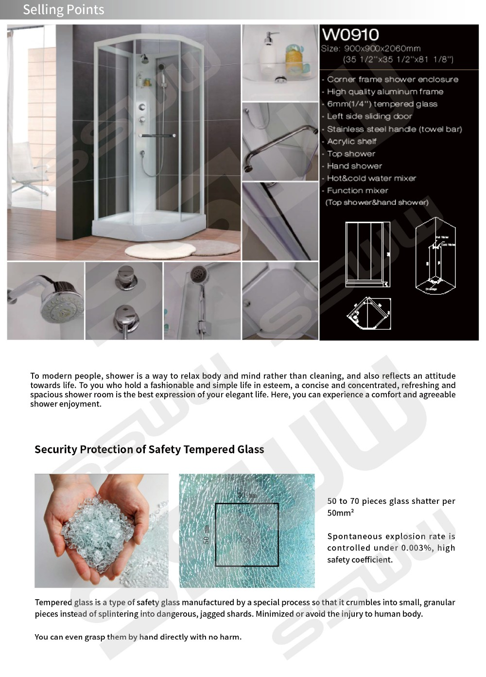 November promotion 6mm tempered glass intergral bathroom