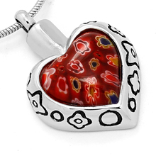 Hot Sale Red Glass Floating Charm Urn Cremation Pendant with 18K Gold Plated Memorial Cremation Jewelry for Pet
