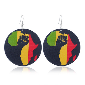 2018 Hot Sale Creative Round Wooden Earrings Colorful Africa Map Painting Wood African Drop Earrings