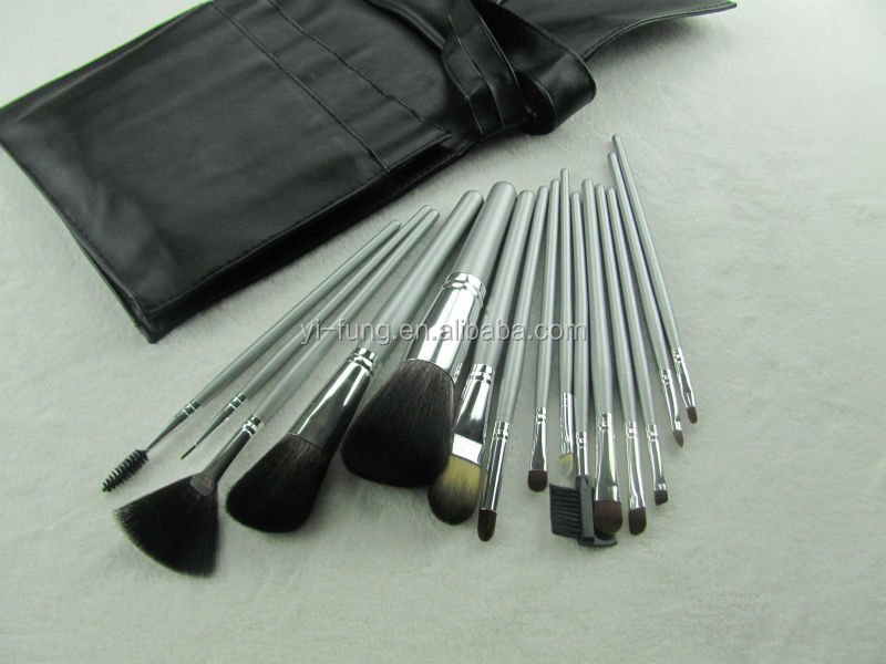 15 Pcs Black Color Pu Travelling Bag Silver Grey Handle Shimmer Aluminum Ferrule Nylon Hair Professional Make up Brushes
