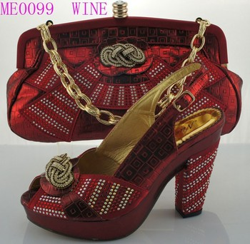 3a5fb910503 2015 ME0099 Wine color China hot sale brand silver gold wedding shoes match  bag lady