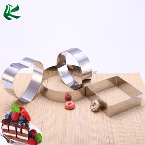 Three Shapes Stainless Steel Mousse Cake Mold Ring, Round Heart Square Dessert Mousse Ring
