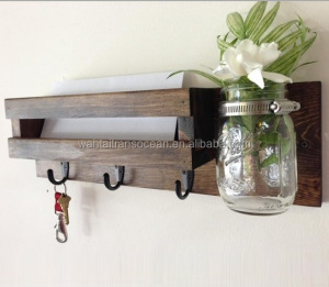 Rustic mail organizer key rack with mason jar & mail holder, entryway organizer