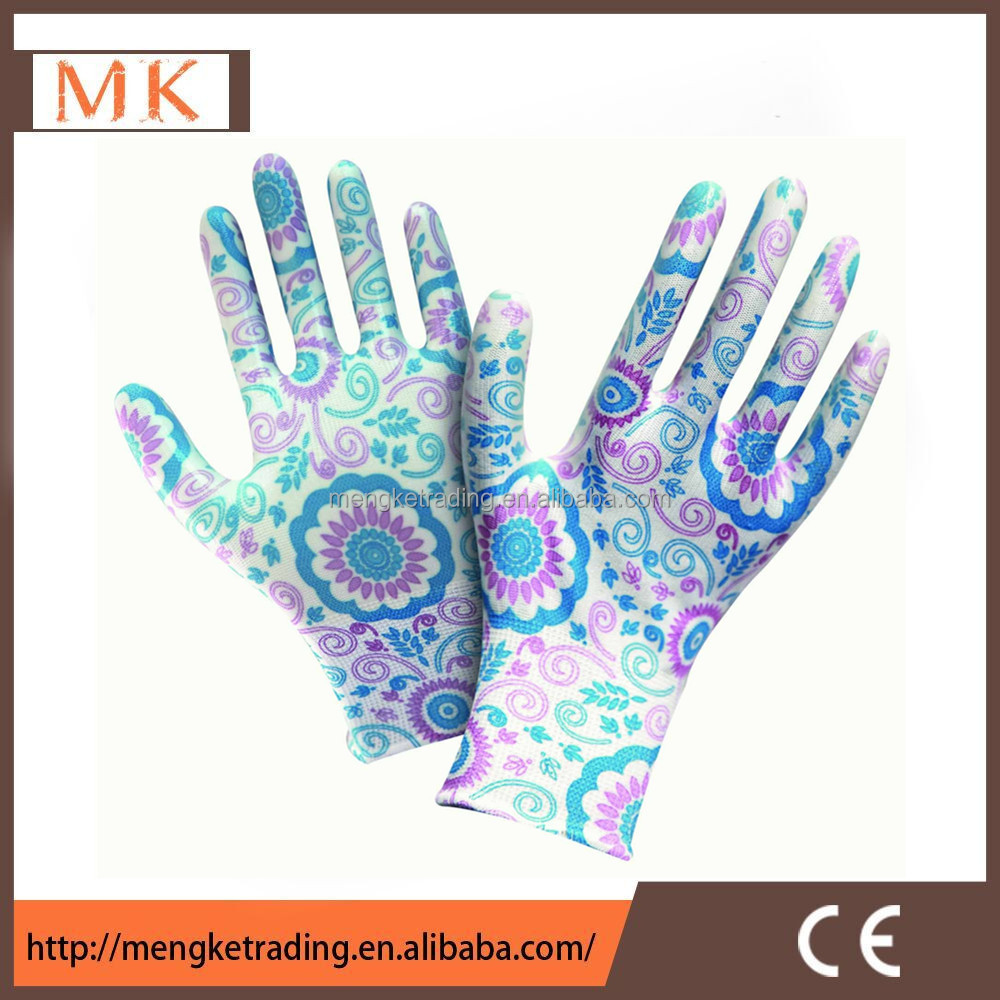 beautiful 13G flower pu coated gloves for women Gardening