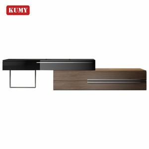 2018 new design high quality good price modern extendable wooden stainless steel leg TV stand
