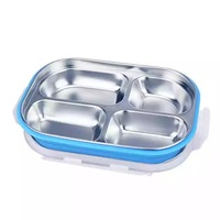colorful 304 Stainless Steel Thermal Lunch Box and Plastic Food Containers Bento Insulated Lunchbox with Compartment