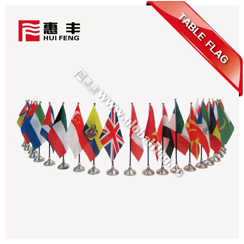 Custom design office many shapes mini desk flag with stainless steel pole and crystal flag stand base