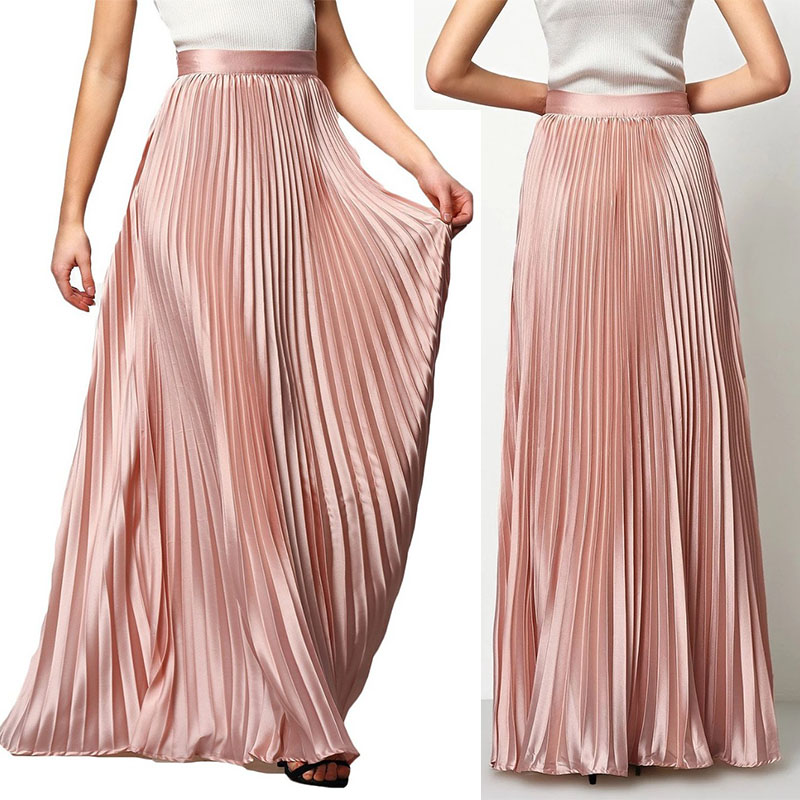 144bfe001 Stylish High Waist Formal Long Maxi Pleated Skirts Women - Buy ...