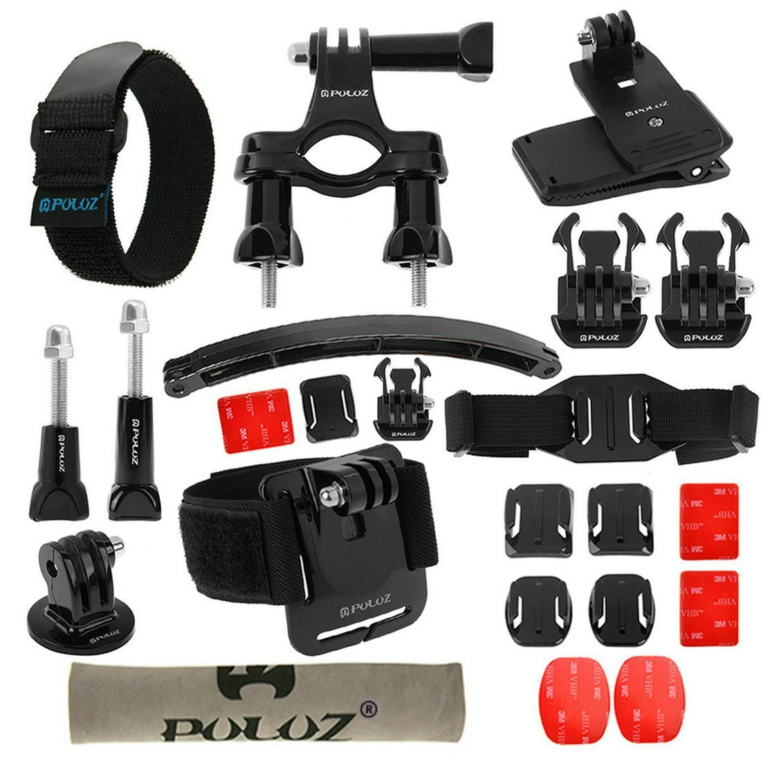 PULUZ 24 in 1 Bike Mount Accessories Kit(Wrist Strap+Helmet Strap+Extension Arm+Quick Release Buckles+Surface Mounts+Adhesive Stickers+Tripod Adapter+Storage Bag+Handlebar Mount+Screw)for Gopro,Xiaoyi