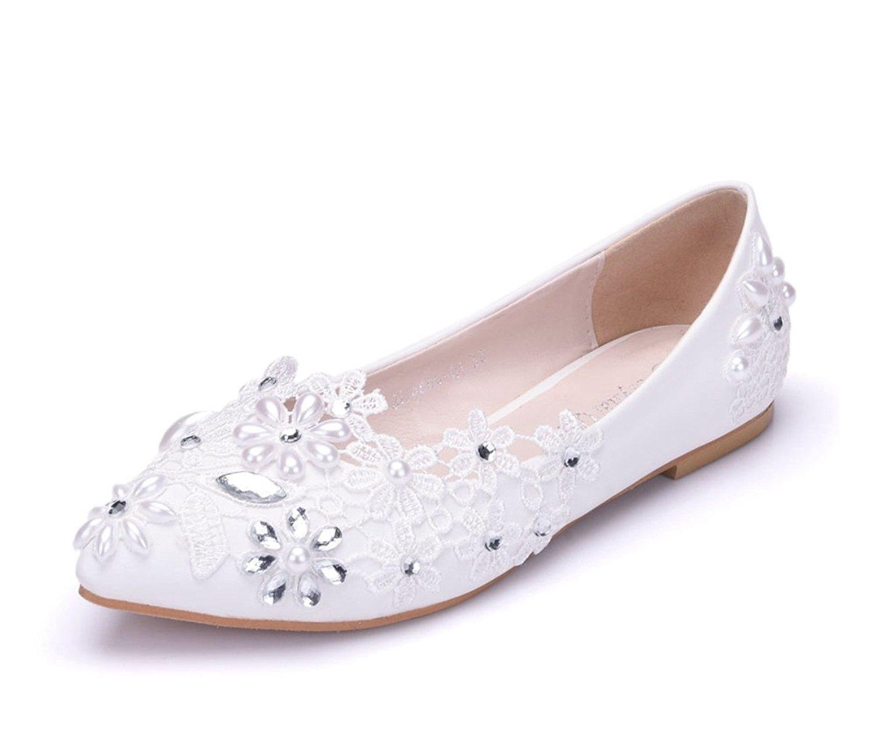58a960999184 Get Quotations · Minishion Womens Rhinestones Flowers Satin Bridal Wedding  Flats Fashion Dress Ballet