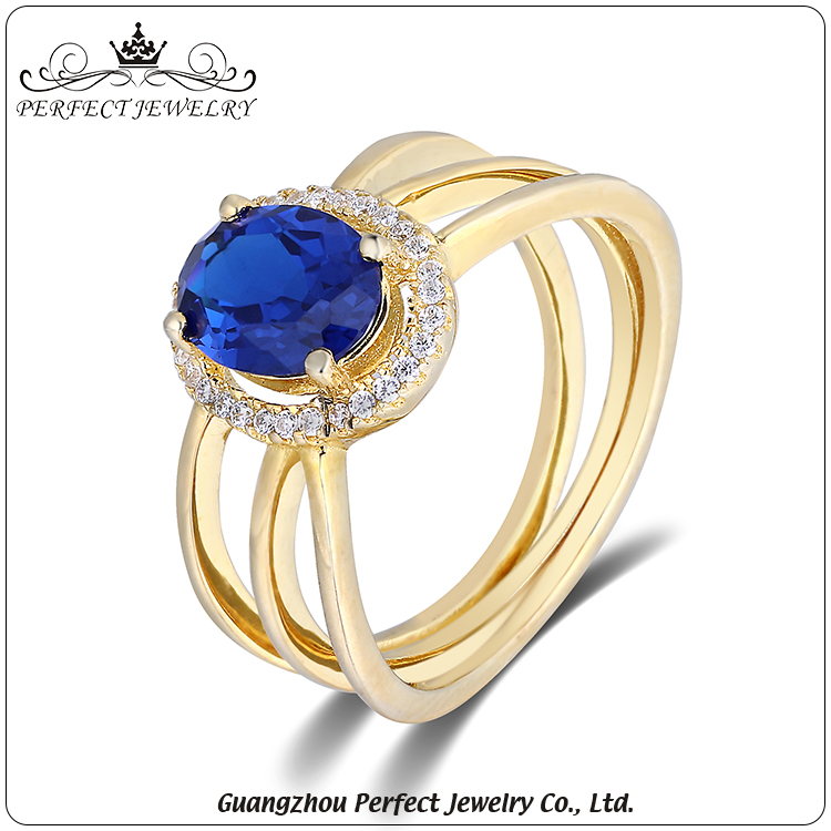 2017 hottest selling saphire plating 18K gold color 925 sterling silver fashion jewellery for ladies