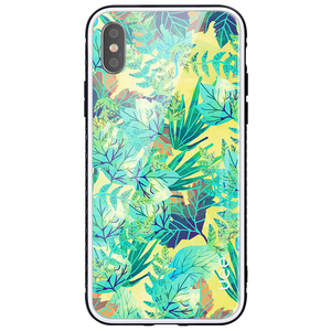 Custom design Leaf pattern hard glass cover mobile phone case for iPhone 8 plus X 7 Plus 6s 6 plus