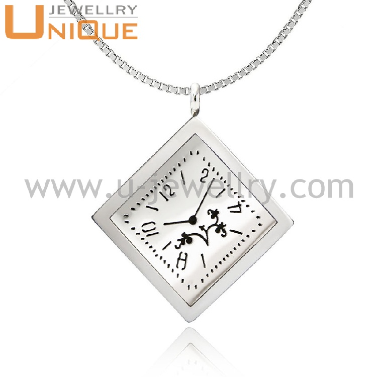 High quality square shape clock design stainless steel aromatherapy oil diffuser pendant