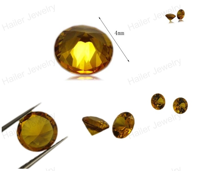 Top quality round yellow color lab created sapphire