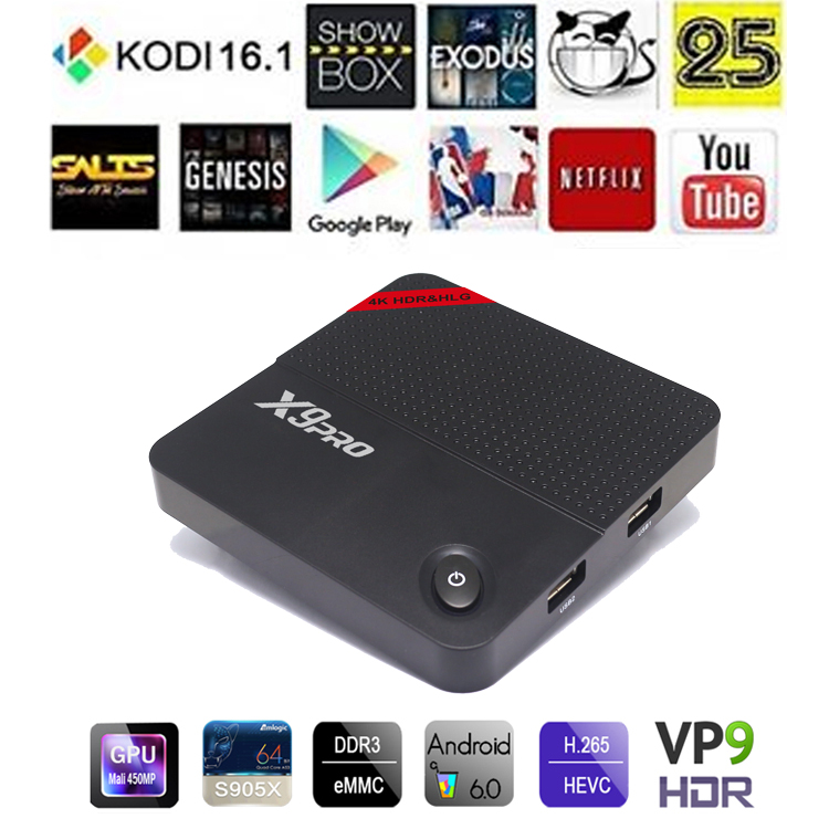 Professional Android 6.0 KODI 16.1 2gb ram X9 PRO unblock tv box
