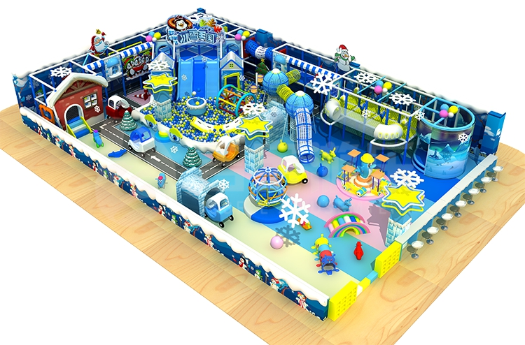 2018 new custom indoor kids ice theme playground with slide