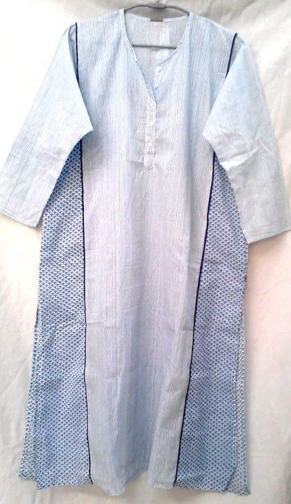 Blue & White Hand print Indian cotton Boho chic Long Tunic top