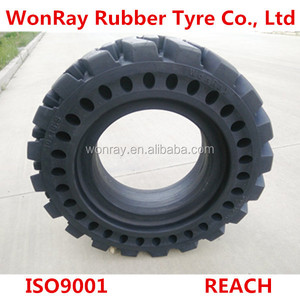 Backhoe Tractor solid tyre and Front End Loader skidsteer tire 10 16.5, 12 16.5, 14 17.5 used in recycling iron sites