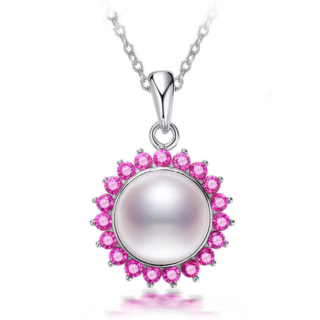 Sunflower necklace pendant wholesale pendants suppliers alibaba athenaa ruby sunflower pearl pendant 925 sterling silver necklace wholesale fashion jewelry mozeypictures Images