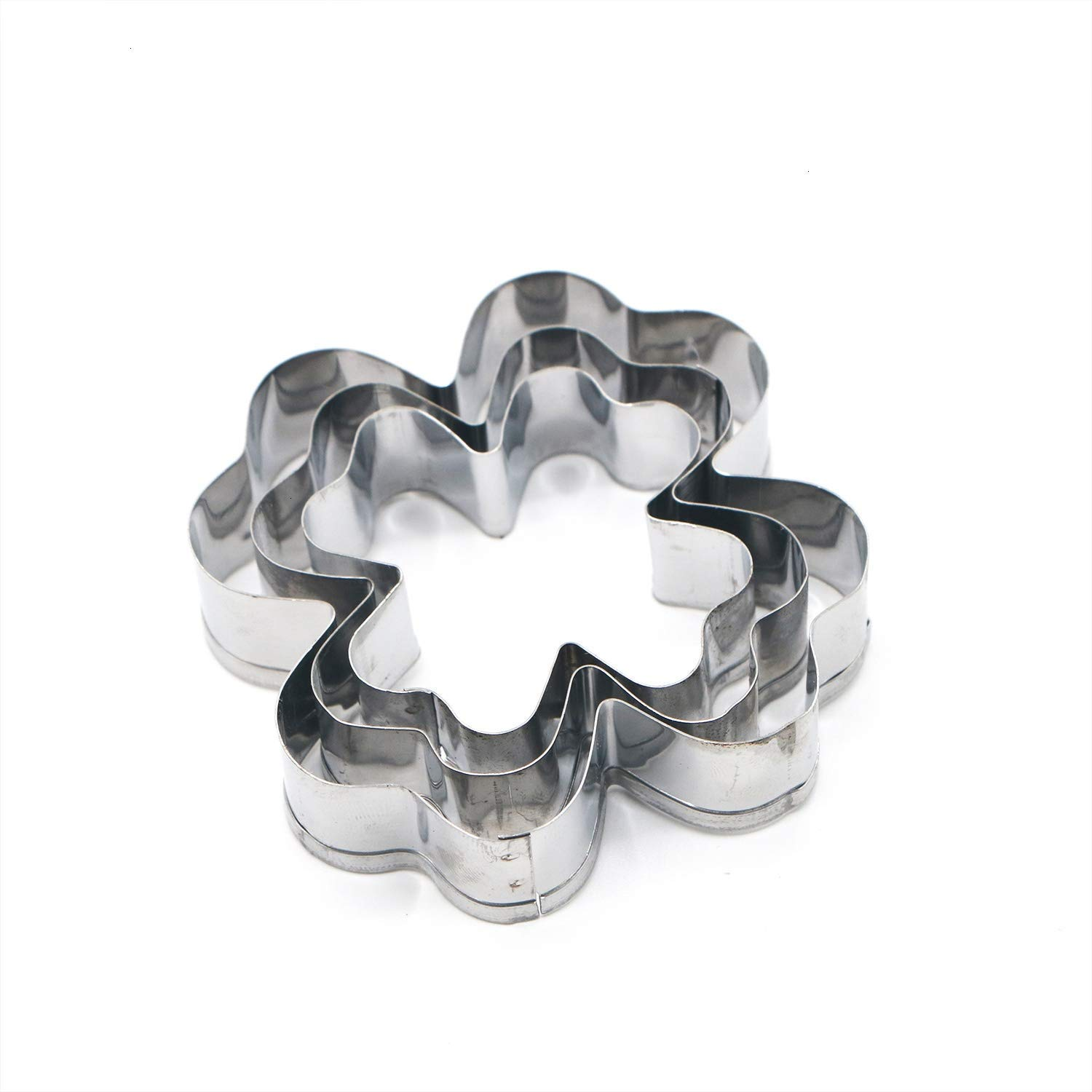 HUELE 2 Set Stainless Steel Clover Cookie Cutter, Each Set Containing 3 Different Size Cookie Cutter