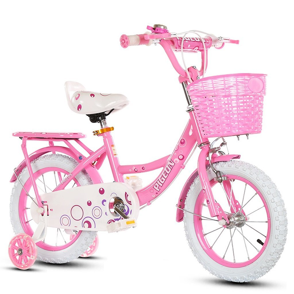 1cae173c409 Get Quotations · ZHEN GUO Girls Bicycle with Training Wheels and Adjustable  Removable Stabilisers & Basket, Kids Bike