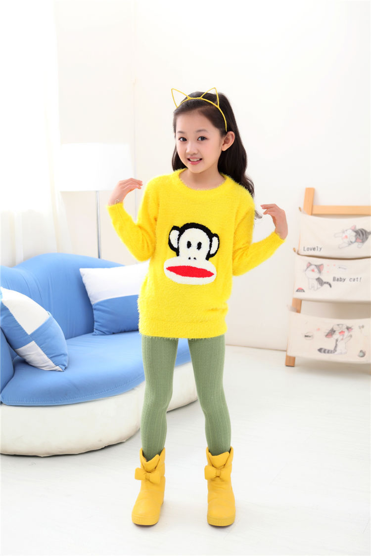 Brand Cotton Knitted Kids Girls Sweater monkey sweater girl Autumn Clothes For 3-10 Years Winter Sweater For Girls