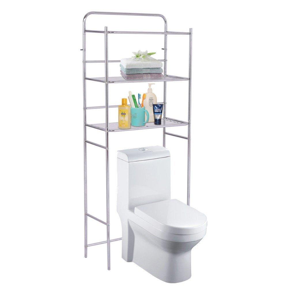 3-Tier Over The Toilet Space Saver Bathroom Storage Shelf Rack Organizer Chrome