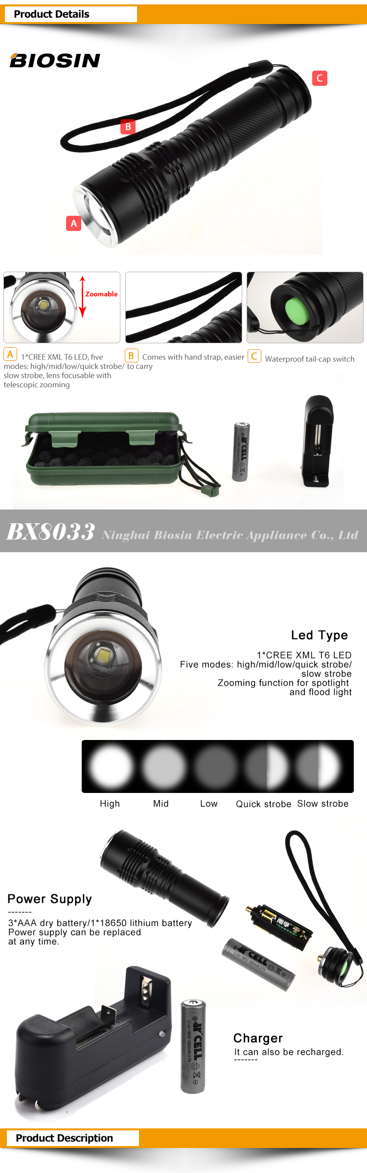 BIOSIN manufacturer logo printed best quality aluminium alloy long distance rechargeable tactical 1000 lumen flashlight