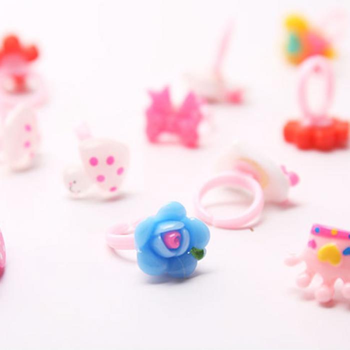 10Pcs Kids Cartoon Rings toy Plastic Children Kids Animal Flowers Finger Ring FJ