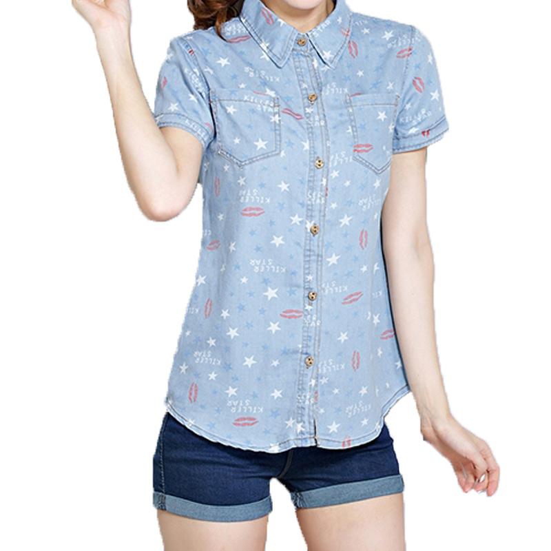 f46985e1f8f Get Quotations · Denim shirt female short-sleeve 2015 loose plus size print  denim shirt thin casual top