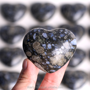 Natural Blue Spots Stone Heart Crystal Rough Polished Healing