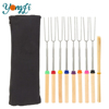 Telescoping Marshmallow Roasting Sticks Stainless Steel Hot Dog Fork with Carrying Bag